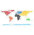 world continent map gdp mosaic of dollar and dots vector image