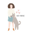 young girl hugging her dog best friends concept vector image