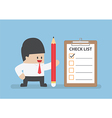 Businessman holding pencil with clipboard vector image