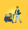man tourist with luggage cart vector image