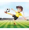 A football player kicking the ball vector image vector image