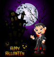 a little boy in a dracula costume with pumpkin and vector image