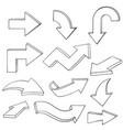 arrows outline hand drawn sketch set of signs vector image vector image