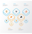 audio icons flat style set with ear muffs compact vector image vector image