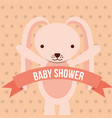 baby shower pink bunny ribbon dots background card vector image vector image