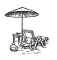 beach chair with umbrella and stool retro vector image