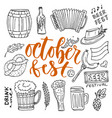 beer october fest doodle icons set beer glasses vector image
