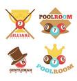 billiard pool club poolroom labels vector image vector image