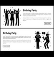 birthday party posters with people silhouettes vector image vector image
