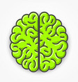 cartoon green brain sign clean vector image vector image