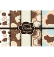 Chocolate cartoon sky and clouds seamless pattern vector image