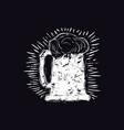 Craft beer mug in linocut style