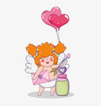 cupid with arrow and hearts balloons to valentine vector image vector image
