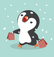 cute penguins shopping vector image vector image