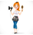 Cute redhead girl hairdresser with hair dryer and