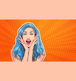 excited woman with blue hair and open mouth pop vector image