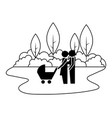 family couple with baby cart in landscape vector image vector image