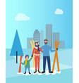 family skiing together father and mother with kid vector image vector image