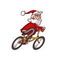fat santa claus riding bicycle old smiling man vector image