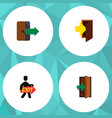 flat icon emergency set of directional entrance vector image vector image