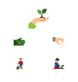 flat icon seed set of care florist glove and vector image