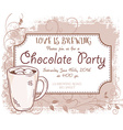 hand drawn chocolate party invitation card vintage vector image vector image