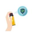Hand holding self defense spray vector image vector image