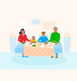 happy family home with children sitting at table vector image