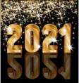 happy new 2021 year 3d golden banner vector image vector image