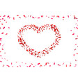 heart confetti isolated white background fall red vector image