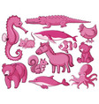 isolated set many animals in pink vector image vector image