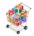 isometric 3d shopping cart purchase goods gift vector image