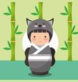 japanese kokeshi doll in kimono animal costume vector image vector image