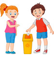 kid throws garbage in the trash vector image