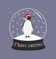 king penguin emperor in red santa hat cute vector image vector image