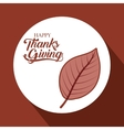Leaf of Thanks given design vector image vector image