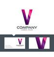 letter v - logo design vector image