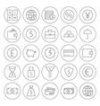 Line Circle Money Finance Banking Icons Set vector image
