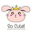 little bunny princess so cute background vector image vector image