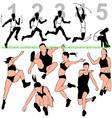 long jump silhouettes set vector image vector image