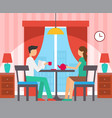 man and woman sitting at table in room vector image vector image