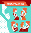 Motherhood set silhouettes of mother and baby vector image vector image