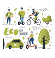 people riding eco transportation green urban city vector image