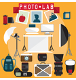 photo lab flat design elements set vector image vector image