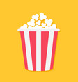 popcorn big red yellow strip box cinema movie vector image vector image