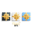 realistic gifts christmas gift packages with gold vector image