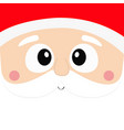 santa claus square head face icon beard vector image