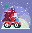 santa claus with presents on scooter new year vector image vector image