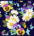 seamless pansies and camomiles vector image
