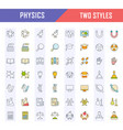 set flat line icons physics vector image vector image